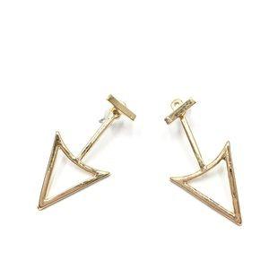 1 Pr. Geometric Double-Sided Earrings (Gold)