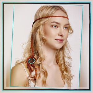 "Cara Accessories - ✨Leather Braided Feather ""BoHo"" Head Wrap✨"