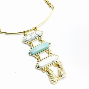 1 Pc. White and Blue  Turquoise Necklace