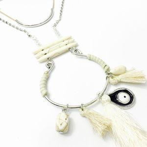 1 Pc. White Howlite Bohemian Fringe Necklace