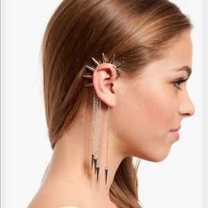 Boutique Jewelry - Silver Tone Chains & Spikes Single Ear Cuff
