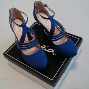 Qupid Strappy Royal Blue NUBACK PU, (NEW) Size 8