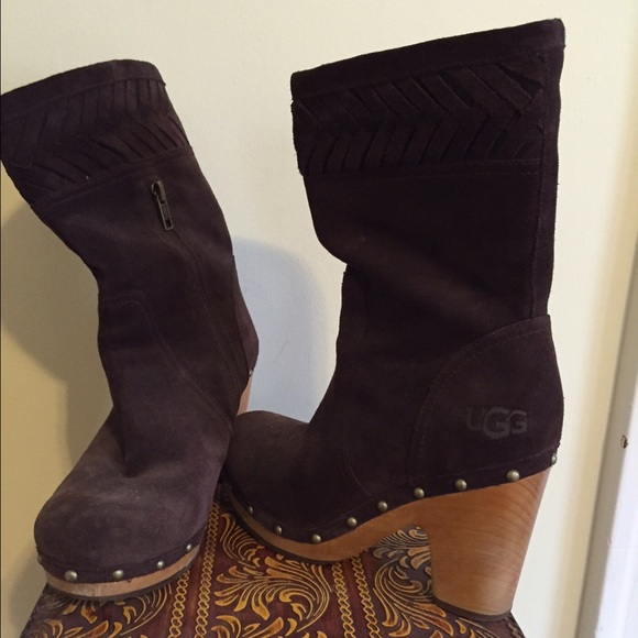 Ugg Shoes Wood Heel Boots Poshmark