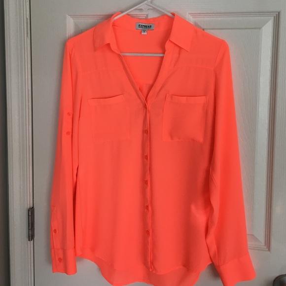 424bd0675aac Express Tops - Express Neon orange portofino shirt size small