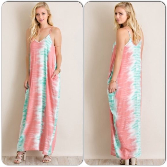 8656409a43 Coral Green Pocketed Tie Dye Parachute Maxi Dress