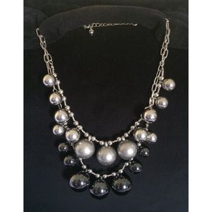 Jewelry - Silver and Black Statement Necklace