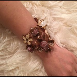 Flower adjustable cuff bracelet