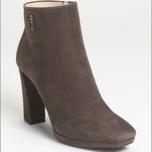 Prada Suede Ankle Bootie Charcoal 40/10 NWT box