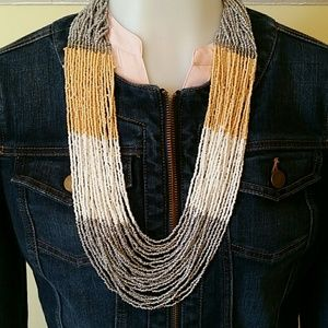 Jewelry - Gold, White & Gray Seedbead Necklace