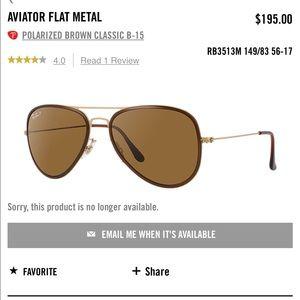 Brown aviator ray bans. Never worn 