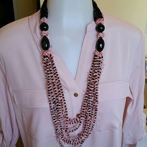 Jewelry - Onyx, Dyed Coral & Crystal Glass Necklace