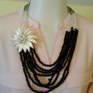 Jewelry - Mother of Pearl, Onyx & Crystal Glass