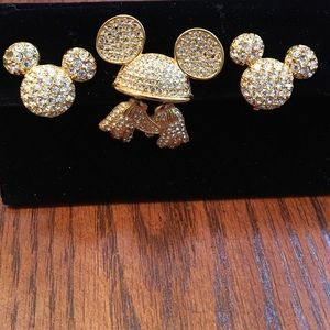 Vintage Disney Mickey brooch and earrings