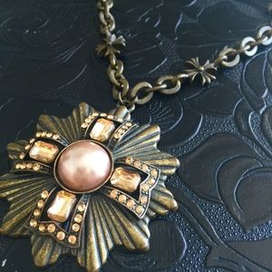 Bronze choker cross vintage look
