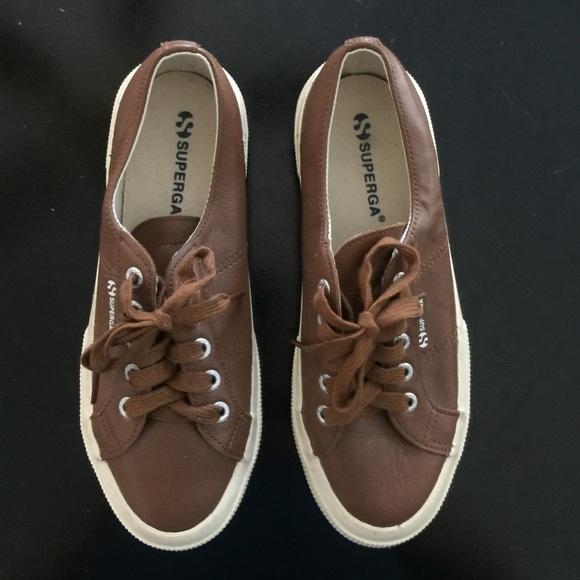 Nuovi Prodotti ea008 6c82d Brown Leather Superga Tennis Shoes size 38 7.5/8
