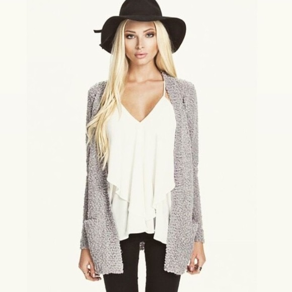 db4d8699547 Gray Soft Fuzzy Cardigan Sweater