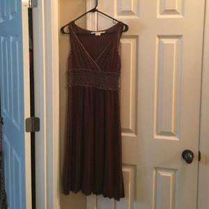 Brown and white polkadot dress