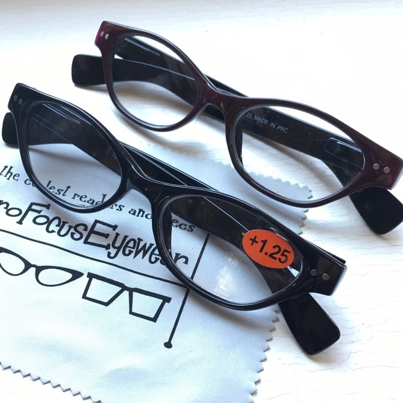 d8a077ba4aa NEW 2pr +1.25 Cat Eye Reading Glasses Black Wine