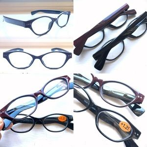 b917fdb8de7 Generic Accessories - NEW 2pr +1.25 Cat Eye Reading Glasses Black Wine