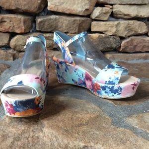Fergalicious Shoes - Sheila Blue Floral Platform Sandals