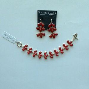 White House Black Market Jewelry - Flame red toggle bracelet drop earrings set
