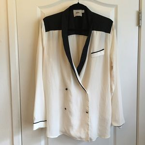ASOS black/white tuxedo button-down blouse