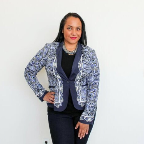 Apt. 9 Jackets & Blazers - Blue and white filigree blazer