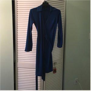 royal blue long sleeve surplice dress