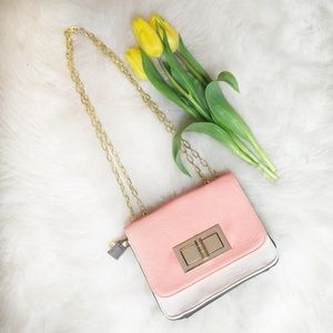 Handbags - Coral Tricolor Chain Strap Bag