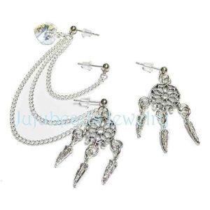 Triple piercing dream catcher earrings