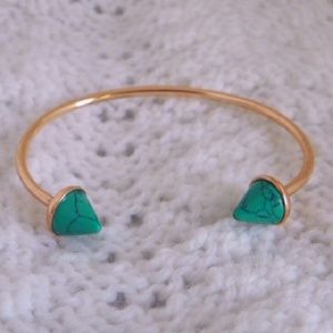 Jewelry - Rose gold faux turquoise spike cuff bangle