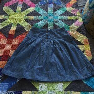 J Crew skirt, chambray blue, 4, pockets