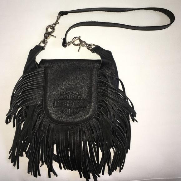 17313c36caee Harley-Davidson Handbags - Harley Davidson Leather Fringe Hip Shoulder Bag