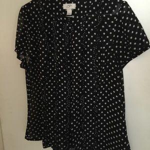 Tops - Black and white polka dot sheer blouse