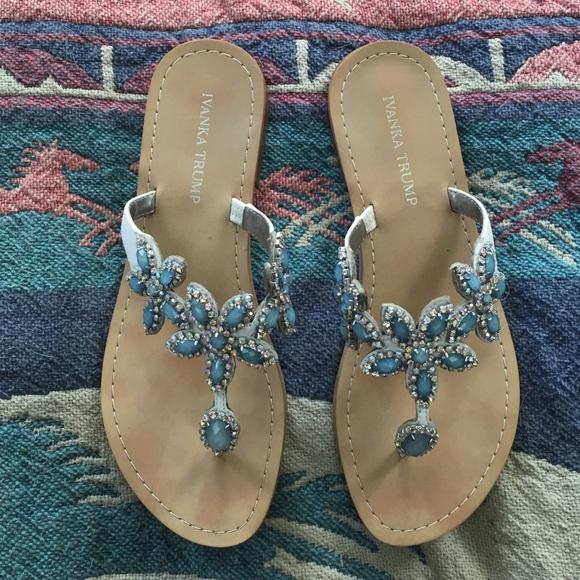 dab59372ba6143 Ivanka Trump Shoes - Ivanka Trump blue rhinestone floral sandals