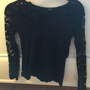Ambiance Apparel Tops - Black lace long sleeve