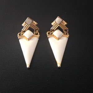 Jewelry - Art Deco style goldtone and cream earrings