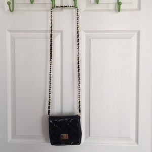 Handbags - Black crossbody bag with gold chain