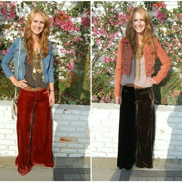 70% off Free People Pants - Free People Rust Velvet Wide Leg Pants ...