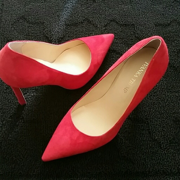 Red Suede Ivanka Trump Pumps