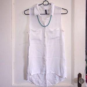 White sleeveless button down