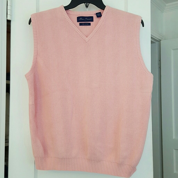 Alan Flusser - Mens Pastel Pink Cotton Sweater Vest from Jill's ...