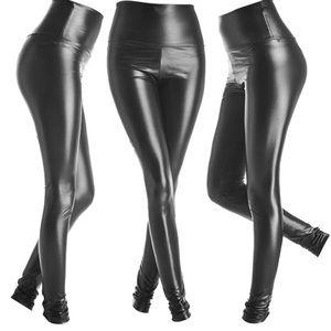 Brand new faux leather legging shiny black large
