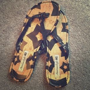 American eagle black sequence sandals