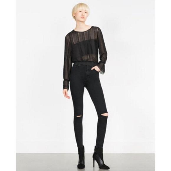 e2e16219 Zara high waist skinny jeans black w ripped knees NWT