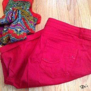 Pants - Hot Red Jeans Shorts