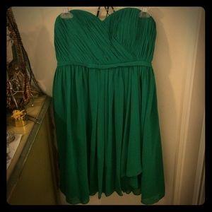 Strapless emerald green dress
