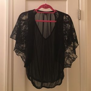 Express XS Sheer Black Lace Top