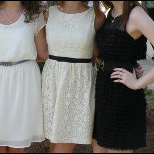 Dresses & Skirts - White Lace Dress with Black Belt