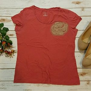 3/$10 Dusty Pink Tee Shirt w/ Lace and Bead Accent